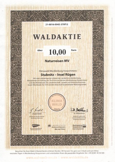 Waldaktie Klimawald Stubnitz