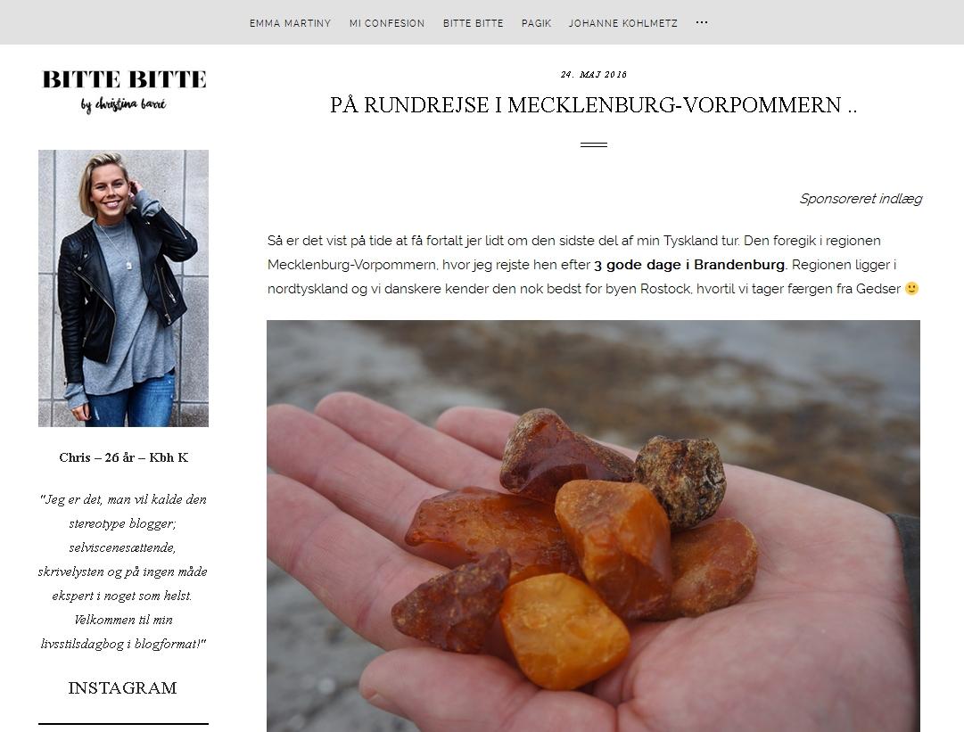 Reisebericht über Rundreise in Mecklenburg-Vorpommern der dänischen Bloggerin Christina Marré